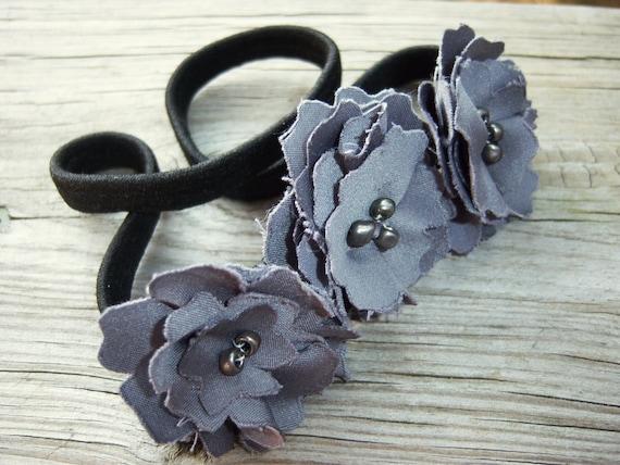 SALE// Shiny Upcycled Fabric Flower Headband