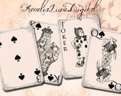 Alice in Wonderland Playing Cards Spades printable digital Collage Sheet nr 103