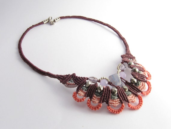 Beadwork, macrame,Pink and purple,statement Necklace,Peacock style, boho,