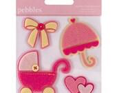 75% Off - Pebbles Baby Girl Pink Layered Felt Embellishments -- MSRP 4.00