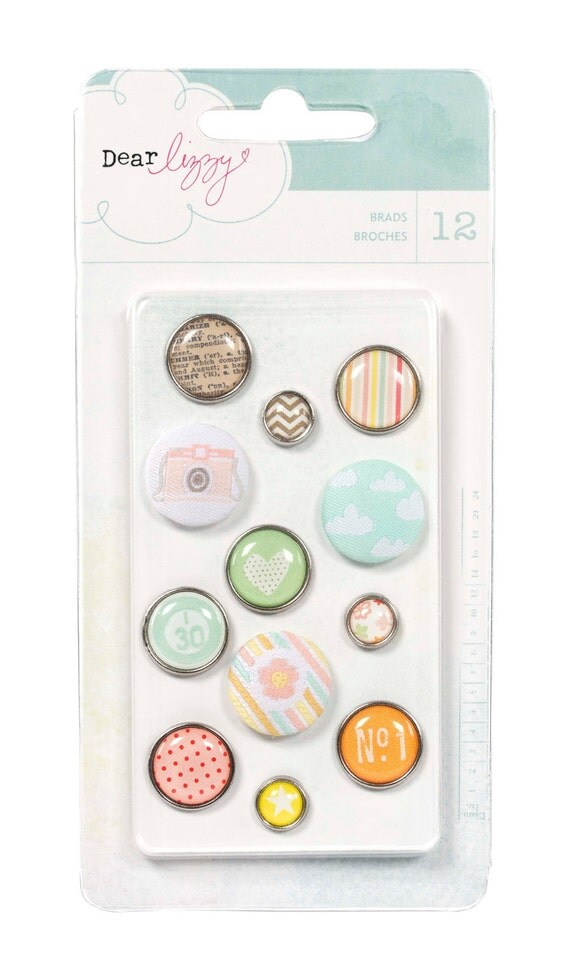 Dear Lizzy Neapolitan Fabric & Epoxy Brads by American Crafts - Scrapbook Embellishment