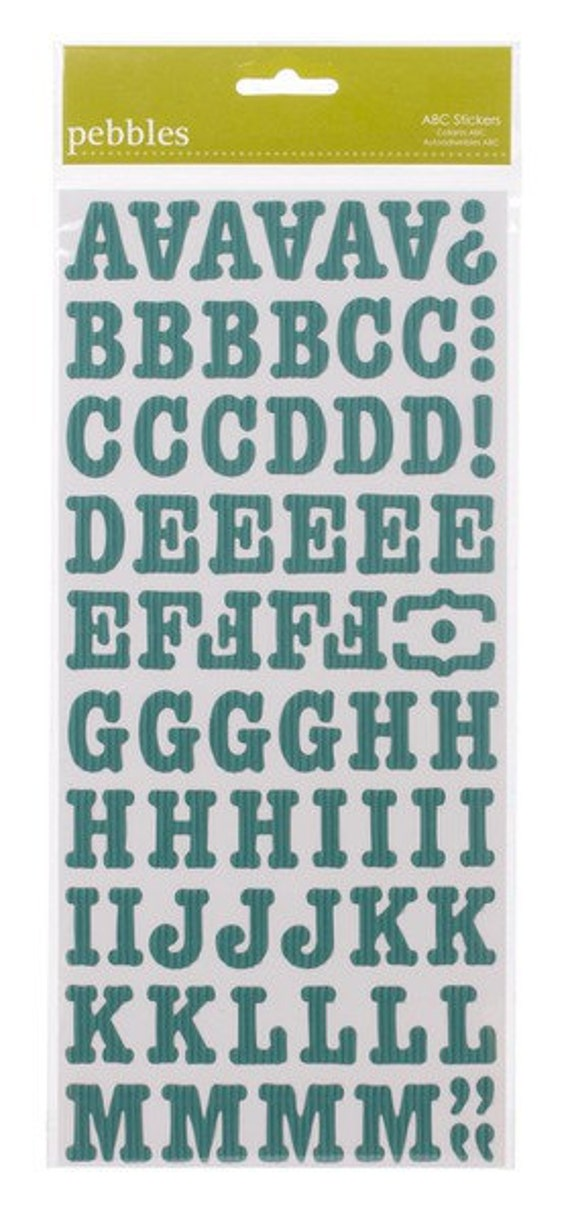 50% Off - Pebbles SunnySide Corrugated Aqua ABC Stickers -- MSRP 4.00