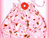 Tossed Cupcakes and Cherries Baby Girl Infant Bubble Romper Doll / Preemie to 4T