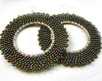 Large Beaded Earrings: Dark Green Seed Bead Earrings Beaded Hoops UK Seller