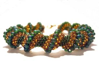 Seed Bead Bracelet :Gold and Green Cellini Spiral Bracelet Beaded Bangle UK Seller