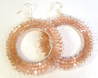 Dusky Pink Beaded Earrings, Seed Bead Earrings, Dangly Hoop Earrings, Beadwoven Jewelry, UK Seller