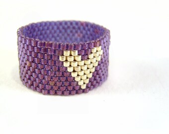 Purple Heart Ring, Beaded Heart Jewelry, Silver Seed Bead Ring, UK Seller
