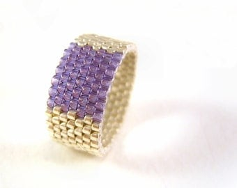 Silver Beaded Ring: Seed Bead Galvanized Silver and Purple Beadwoven RIng UK Seller