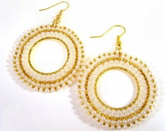 Bead Woven Earrings, Cream and Gold Dangle Earrings, Drop Beaded Hoop Earrings, UK Seller