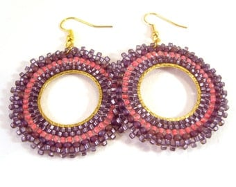 Purple Bead Earrings, Large Beaded Earrings, Seed Bead Hoop Earrings, Purple Earrings UK