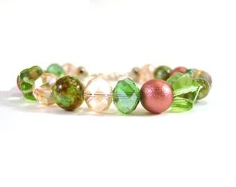 Glass Bead Bracelet, Green and Pink Beaded Bracelet, Bridal Jewelry, UK Seller