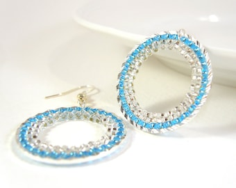Blue Hoop Earrings: Sparkly beaded hoops dangly earrings, Seed Bead Earrings, UK Seller