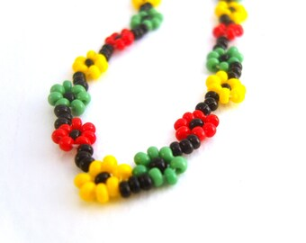 Rasta Bracelet: Red Yellow Green, Seed Bead Bracelet, Rastafarian Jewelry, UK Seller