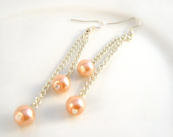 Peach Pearl Dangle Earrings, Faux Pearl Earrings, Bridesmaid Jewelry, Chain Earrings UK