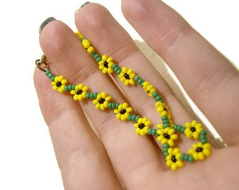 Beaded Sunflower Bracelet Seed Bead Bracelet Yellow Summer Fashion Jewelry, UK Seller