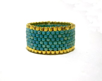 Gold and Turquoise Beaded Ring, Seed Bead Ring, Beadwoven Ring, UK Seller
