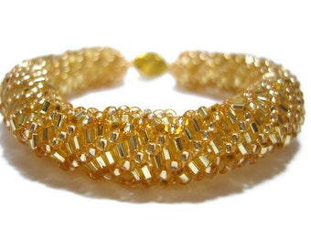 Seed Bead Bracelet : Gold Beaded Bangle Bracelet, Bead Woven Jewelry, UK Seller