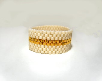 Ladies Beaded Ring : 24k Gold Plated & Cream Seed Bead Ring