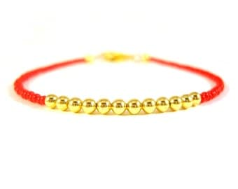 Seed Beaded Friendship Bracelet: Bright Red and Gold Bead Bracelet, Simple Bracelet, UK Seller