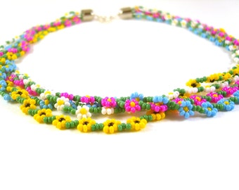 Floral Wreath Necklace, Multistrand Flower Necklace, Colorful Necklace, Seed Bead Jewellery UK