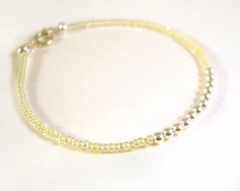 Thin Bracelet: Lemon Yellow Stacking Bracelet, Seed Bead Jewelry