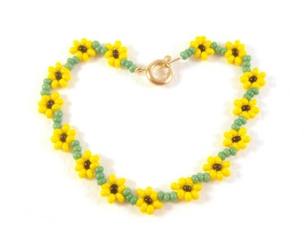 Childrens Sunflower Bracelet, Flower Girls Bracelet, Yellow Flower Bracelet, UK Seller