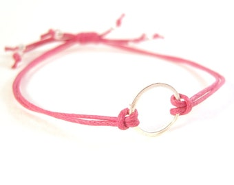 Eternity Bracelet, Cotton Cord Bracelet, Friendship Bracelet, Pink Bracelet, UK Seller