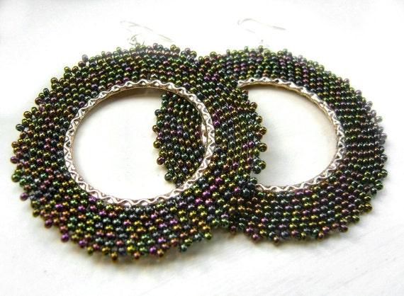 Large Beaded Earrings: Dark Green Seed Bead Earrings Beaded Hoops UK Seller