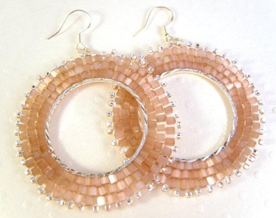 Dusky Pink Beaded Earrings, Seed Bead Earrings, Dangly Hoop Earrings, Beadwoven Jewelry, UK Seller