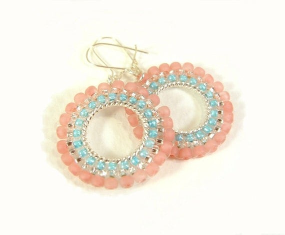 Pastel Hoop Earrings: Pink and Turquoise Seed Bead Beaded Hoops UK