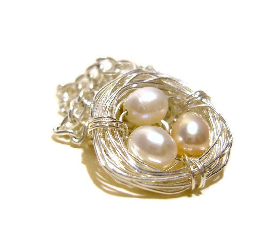 Birds Nest Necklace: Freshwater Pearl Necklace, Wire Jewelry, Gifts for Mom