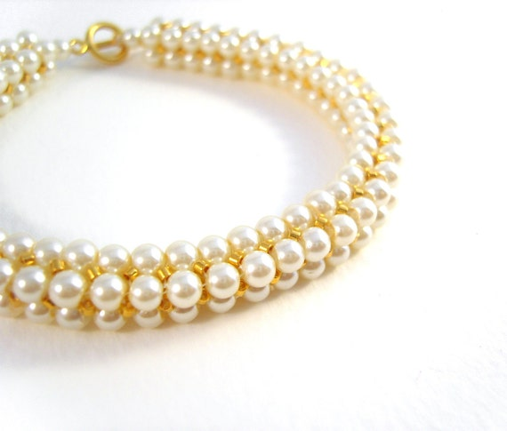 Cream Pearl Bracelet: Beaded Bangle with Gold Seed Beads June Birthstone