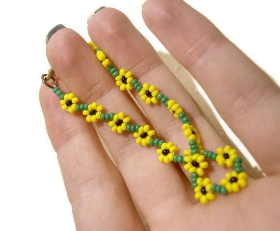 Beaded Sunflower Bracelet Seed Bead Bracelet Yellow Summer Fashion Jewelry, UK Seller