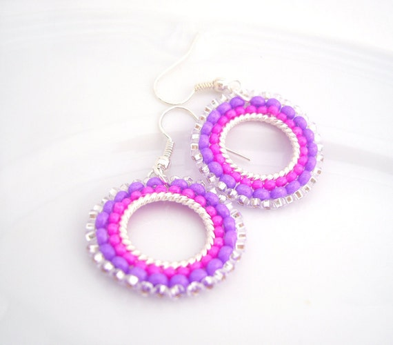 Hot Pink Earrings, Neon Earrings, Beaded Hoop Earrings, Handmade Beaded Jewelry