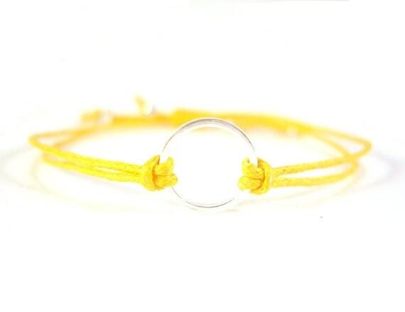 Yellow Eternity Bracelet, Silver Circle Bracelet, Cotton Cord Bracelet UK Seller