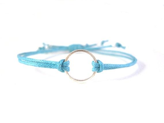 Eternity Bracelet: Blue String Friendship Bracelet, Wax Cord Bracelet, Layering Bracelet UK Seller