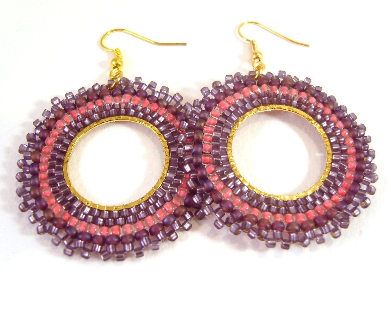 purple bead earrings large beaded earrings seed bead hoop