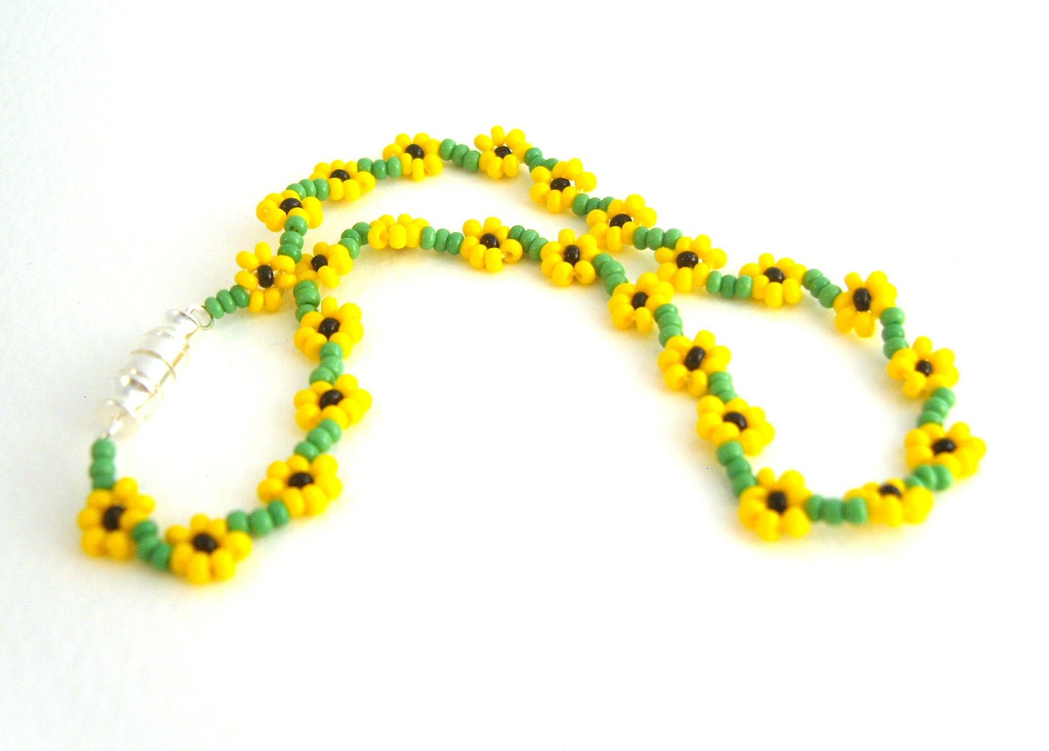 beaded sunflower anklet seed bead floral anklet yellow ankle