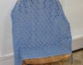 Crochet Silky Soft Solid Blue Baby Afghan/Blanket