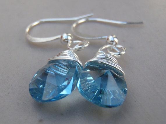 Wire Wrapped Blue Swarovski Crystal Earrings