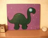 Kawaii Cute Dinosaur Dino Painting Acrylic Canvas Animal Critter Cartoon Unique OOAK