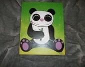 Kawaii Cute Panda Painting Acrylic Canvas Animal Critter Cartoon Bear Unique OOAK