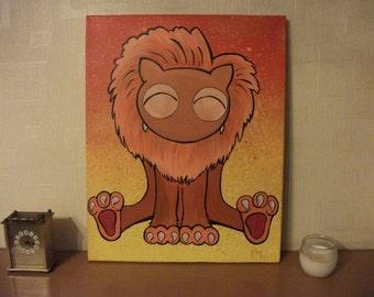 Kawaii Cute Lion Painting Acrylic Canvas Animal Critter Cartoon Dandylion Unique OOAK