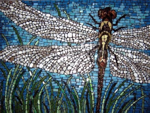Hand - Cut Mosaic Dragonfly