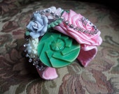Boho Cuff Bracelet, Flower Cuff, Vintage Jewelry,  Bohemian Jewelry, One of a Kind Cuff Bracelet, Pink Rose Bracelet, Statement Piece