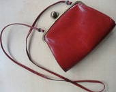 Vintage Red Italian Leather Shoulder Bag, Purse, Handbag for Valentines Day
