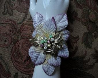 Rose Leaf Cuff Bracelet, Gold and Silver Velvet Leaves, One of a Kind