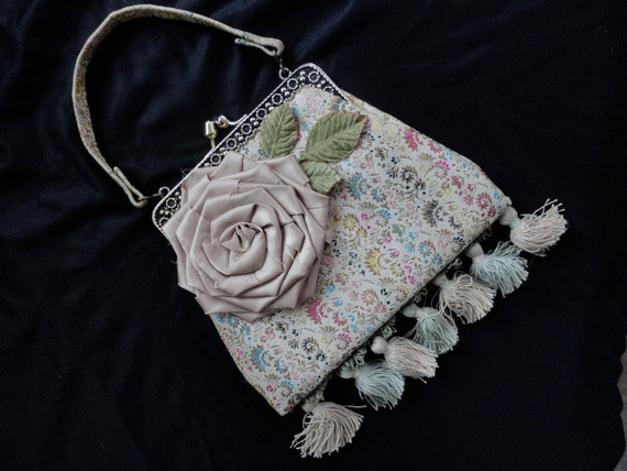 Vintage Tapestry Handbag With Rose, Shabby Chic Style