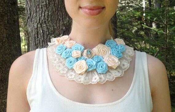 Brides Blue and White Statement Necklace, Boho Flower Necklace, Handmade Roses, Wedding Bib, Something Blue, Summer Festival, Shabby Chic