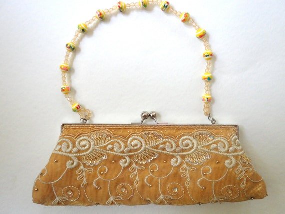 Gold Purse with Bead Handle, Vintage Look